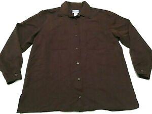 Pendleton-Blouse-Womens-Sz-12-Brown-Button-Front-Top-Shirt-Rayon-Blend-Vintage