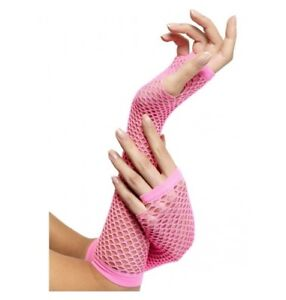 PINK-LONG-FISHNET-GLOVES-PERFECT-FOR-ANY-80-039-S-COSTUME-COSTUME-ACCESSORIES