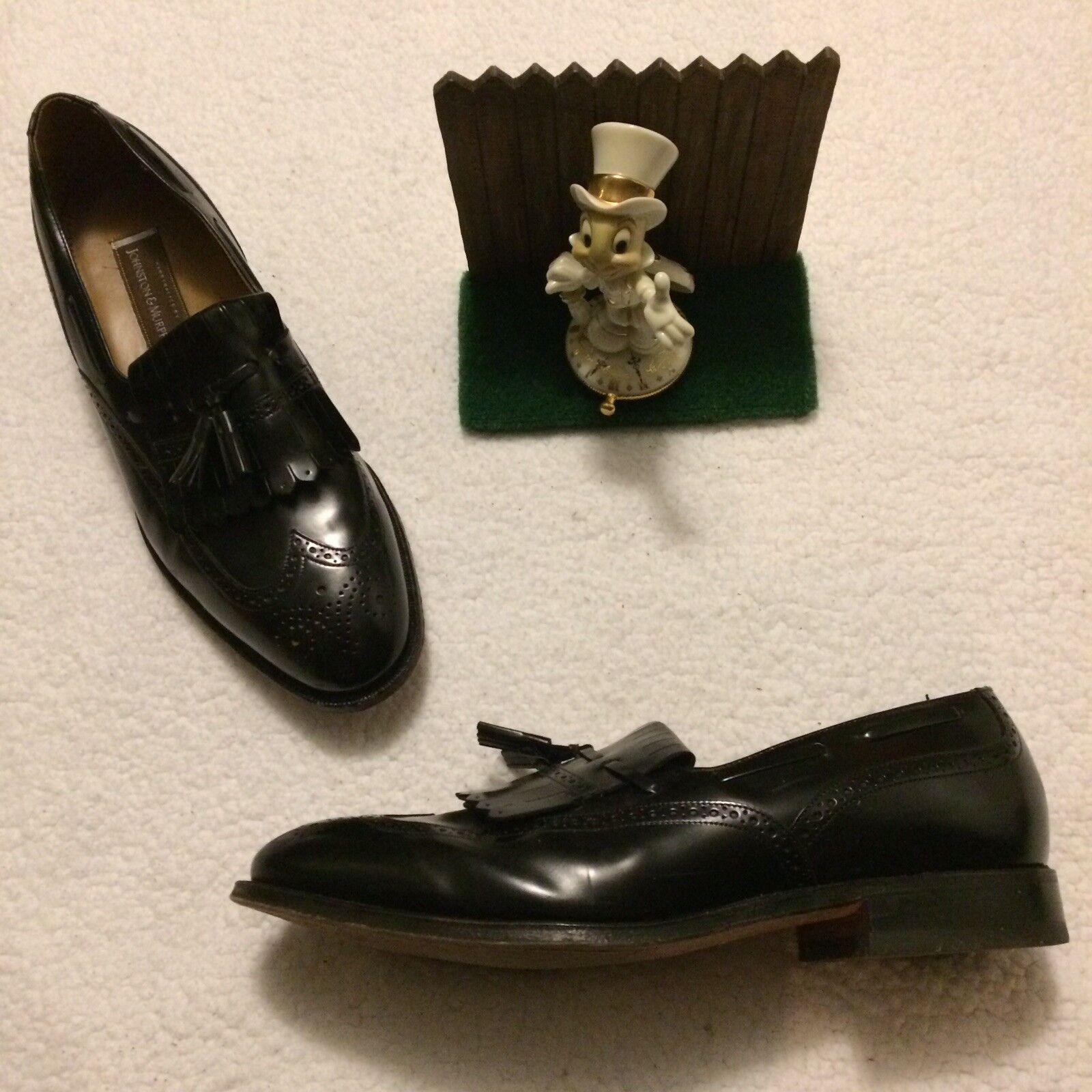 Johnson & Murphy Tolliver Italian Dress Tassle Loafers Leather Black 11.5 D