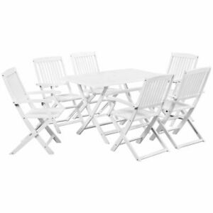 vidaXL-Solid-Acacia-Wood-7-Piece-Outdoor-Dining-Set-White-Garden-Table-Chair