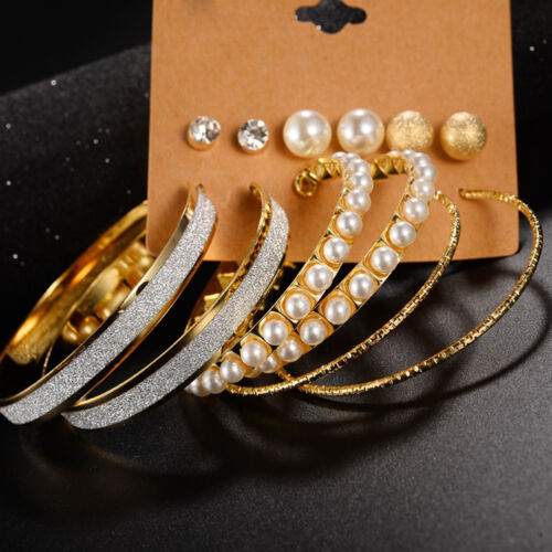 Women 6 Pairs Faux Pearl Big Circle Ear Hoops Stud Earrings Set Jewe GN UK/_ FM