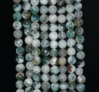 6mm Moss Agate Gemstone Green Round Loose Beads 15