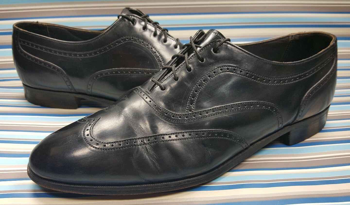 BOSTONIAN USA WING TIP OXFORD BLACK LEATHER CASUAL DRESS LACE UP MENS SHOES 12 M