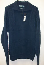 Polo Ralph Lauren Mock Neck Cable Knit Heavy Cotton Sweater $245 Blue Xlarge NWT
