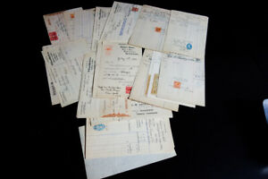 Great-Britain-Revenue-Stamps-on-Paper-Documents-Lot-of-40-VF