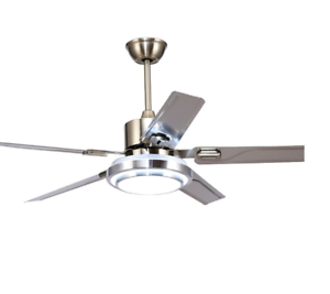 """52/"""" Ceiling Fan Light Lamp Stainless Steel Blade  Remote Control Nickel Fixtures"""
