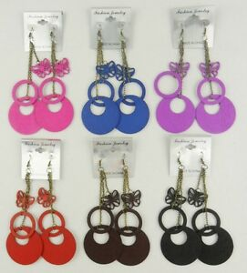 A-88-wood-colorful-dangle-Drop-fashion-earrings-wholesale-lot-6-pairs-M35
