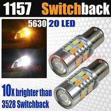 2x 1157 Dual Color Switchback 5630 6000K White/Amber LED Turn Signal Light Bulbs