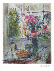 MARC CHAGALL Fruits and Flowers Facsimile Signed Litho Print COA