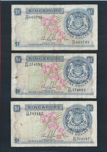 BANKNOTE-Lot-of-3-SINGAPORE-1-DOLLAR-LION-ORCHID-FIRST-NOTE-BILL-MONEY-142A