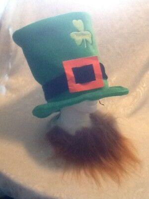Leprechaun Green Velvet Shamrock Hat Beard St Patrick Halloween COSTUME Party
