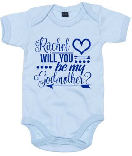 Navy CUSTOM NAME Will You Be My Godmother Babygrow Vest Baby Top Christening God