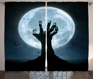 Halloween-Decor-Curtains-Zombie-Grave-Window-Drapes-2-Panel-Set-108x90-Inches