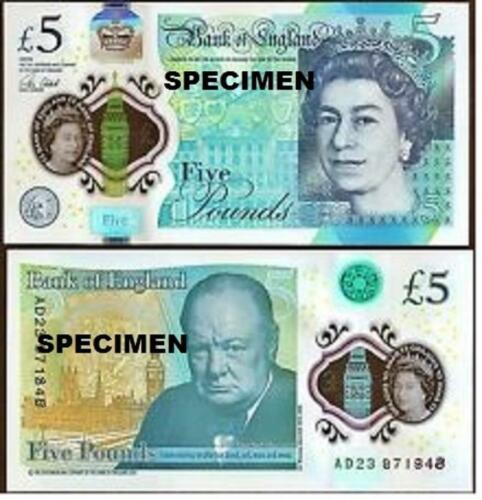 Real bank of england £5 five pound banknote Plastic polymer 2016 UNC currency