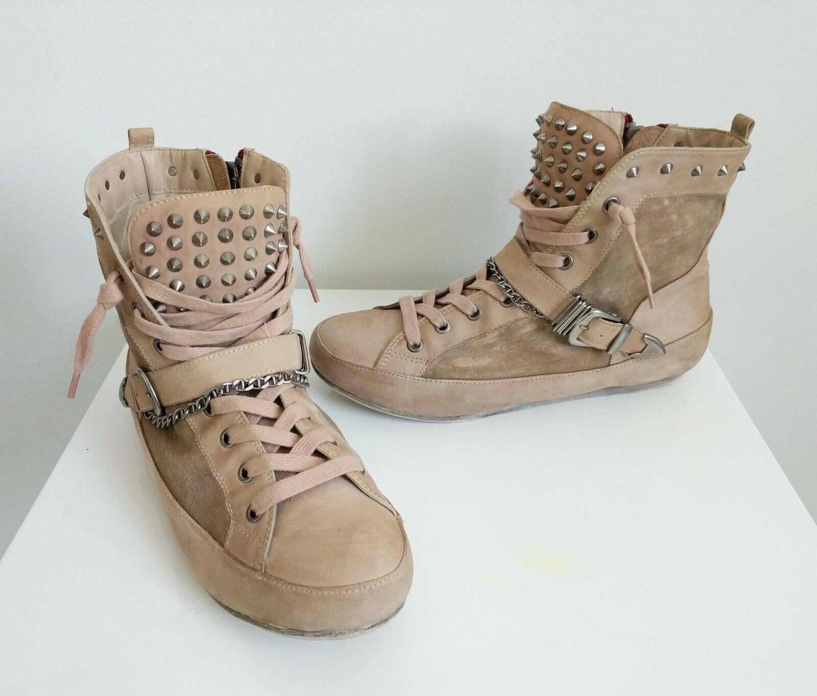 SAM EDELMAN 'ALEXANDER  Distressed Studded High-top Sneaker Retail   Size 9