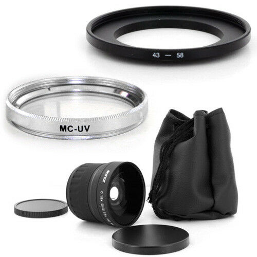 43mm Wide angle Fish Eye 0.18x lens,MCUV Filter for Panasonic PV-GS250 camcorder