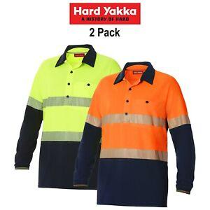 Mens-Hard-Yakka-Koolgear-Hi-Vis-2-Pack-Vented-Tape-Long-Sleeve-Work-Shirt-Y11379