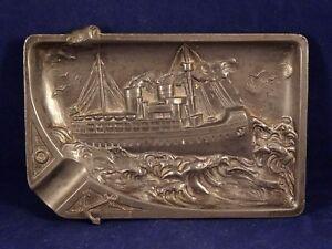 Ancien cendrier relief alliage étain paquebot mer ancre tempête années 30-40 UAfH7xOD-08030237-666864994