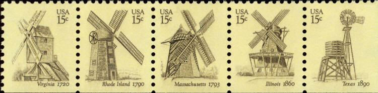 1978 15c Windmills, Vending Booklet Strip of 5 Scott 17