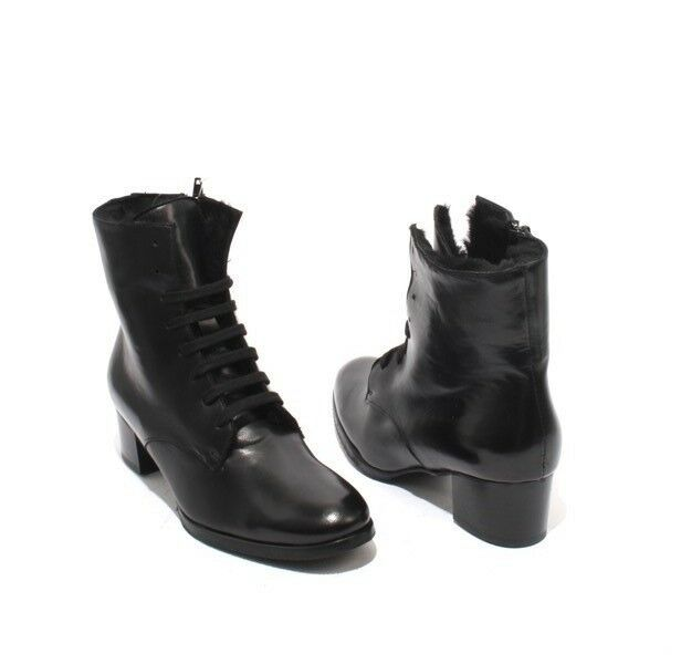 Luca Grossi 383 Black Leather Leather Leather   Lace-Up   Zip   Sheepskin Boots 39.5   US 9.5 815d32