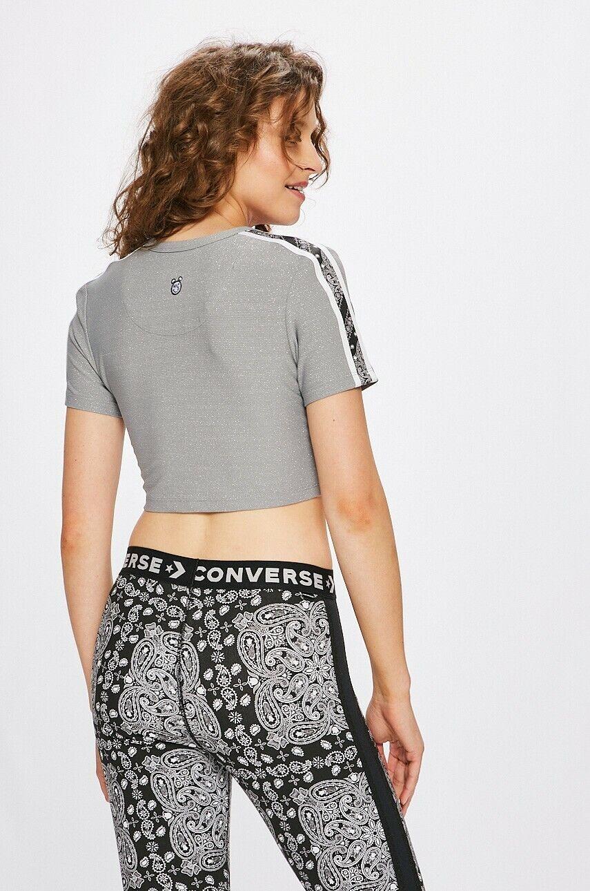 Converse x Miley Cyrus Womens Cropped Glitter T-Shirt Tops M L