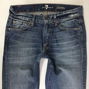Homme 7 FOR ALL MANKIND Slimmy Jean Slim Bleu Délavé Jeans W29 L31 (702 C)