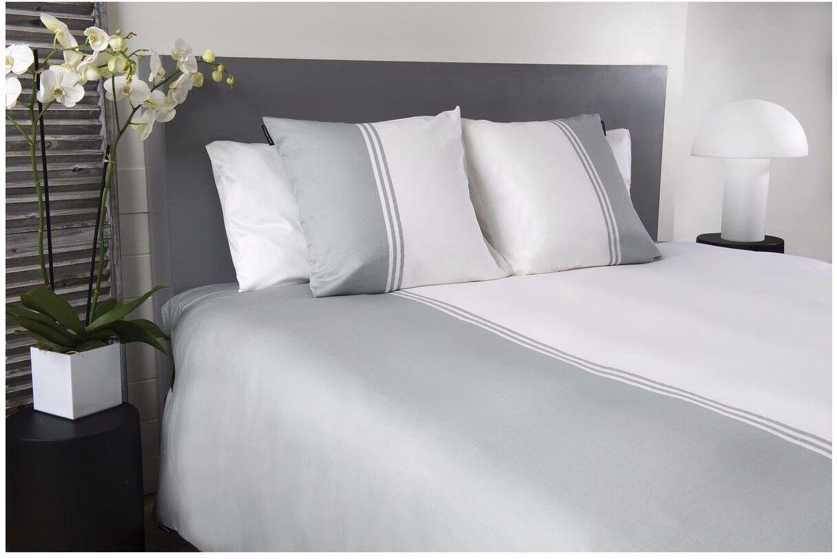 Karl Lagerfeld Design Bettwäsche grau weiß 260 x 240 cm 100% Baumwollsatin NEU   Fein Verarbeitet