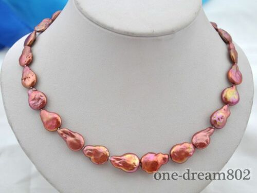 """17.5/"""" 19 mm baroque rouge d/'eau douce collier de perles"""