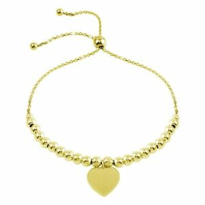 14K-YELLOW-GOLD-OVER-925-STERLING-SILVER-LARIAT-BRACELET-W-BEADS-amp-HEART-CHARM