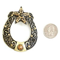 Large Horseshoe Candle Pin Ornament Burnished Metal With Topaz Colored Stones