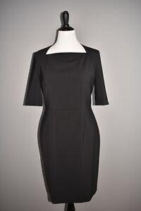 HUGO BOSS NEW $545 Dipiseta Stretch Wool Sheath Dress in Black Size 10