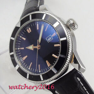 46mm-Black-Sterile-Dial-Rotating-Bezel-Date-Automatisch-Movement-Uhr-men-039-s-Watch