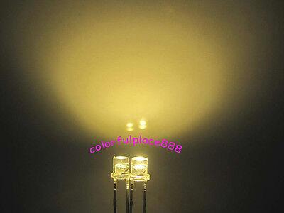 100PCS F3 3MM FLAT TOP LED YELLOW SUPER BRIGHT Wide Angle Leds Lamps GOOD QUALIT