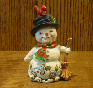 Jim-Shore-Heartwood-Creek-Minis-6001496-SNOWMAN-HOLDING-BROOM-From-Retail-Store