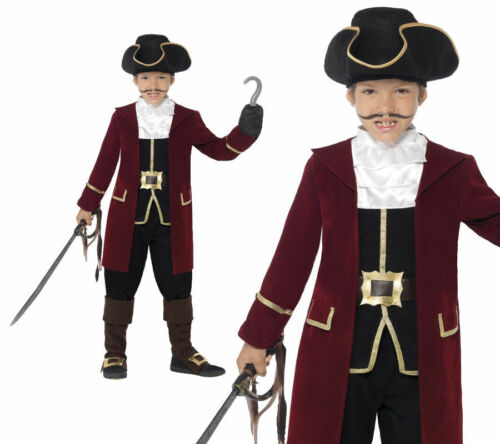 Child Deluxe Pirate Captain Hook Costume Boys Caribbean Fancy Dress Age 4-12