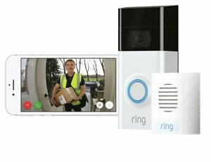 Ring Full HD 1080p Video Doorbell 2 and Chime Bundle - White / Black