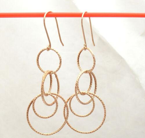 "2"" Diamond Cut Multi Circle Dangle Drop Earrings Real 14K Rose Pink Gold 1.3gr"