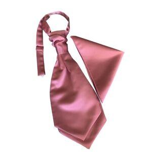 Men & Boys Satin Rose Pink Wedding Ruche/Scrunchie Tie + Pocket Square