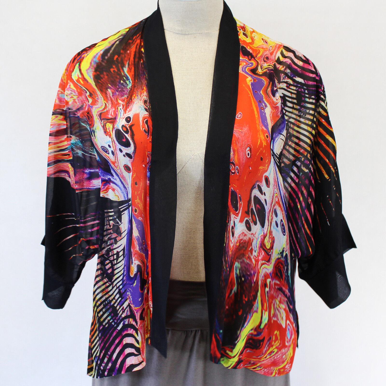 NEW Dilemma Plus Vital Inspirot Kabuki 100% Silk Cardigan Top OS Fits  XL 1X 2X