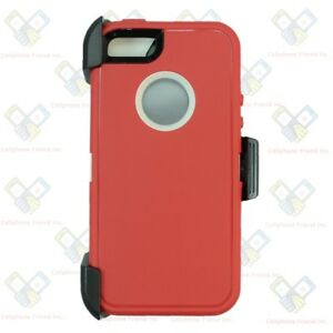 best loved 1f0a7 28901 Details about Red White iPhone 5S / SE Defender Case w/ Belt Holster Clip  fits Otterbox