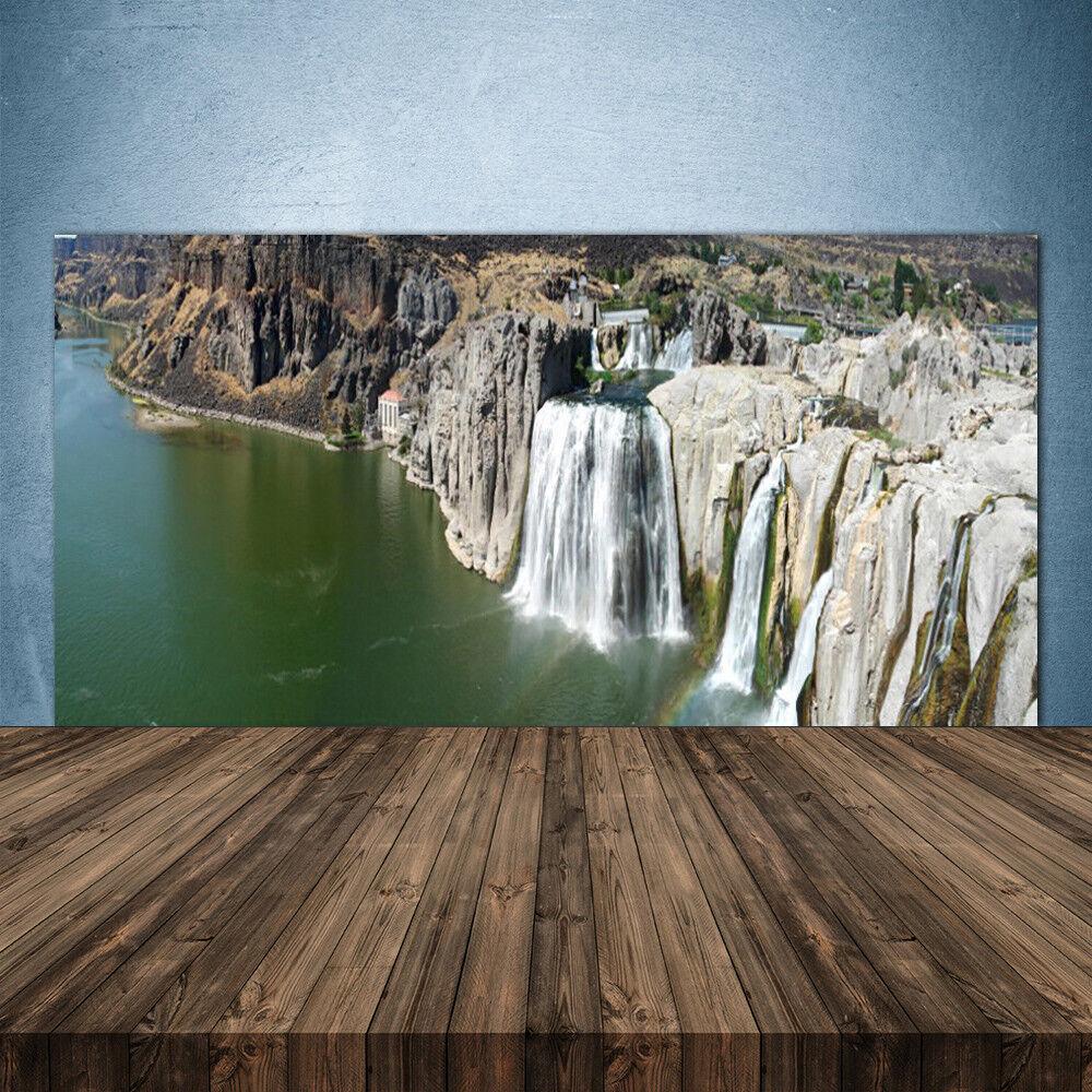Crédence de cuisine en verre Panneau 140x70 Paysage Montagnes Chute D'eau Lac