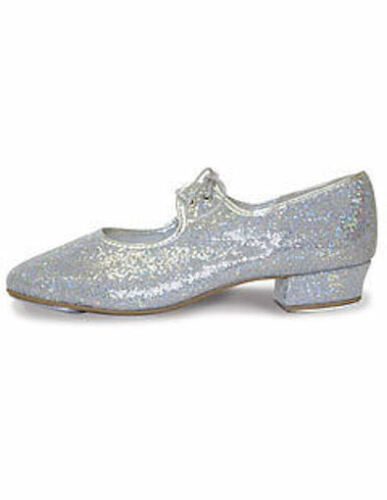 Roch Valley Childrens LOW HEEL Silver Hologram Tap Shoes Girls Dance