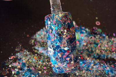 glitter mix acrylic gel nail art         SHIMMERING TIDE     glows in the dark