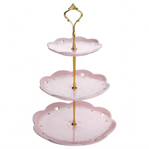 "MALACASA 14.5/"" Tall 3 Tier Round 6/""/&8/""/&10/"" Dessert Cake Tower Stand Holder Pink"