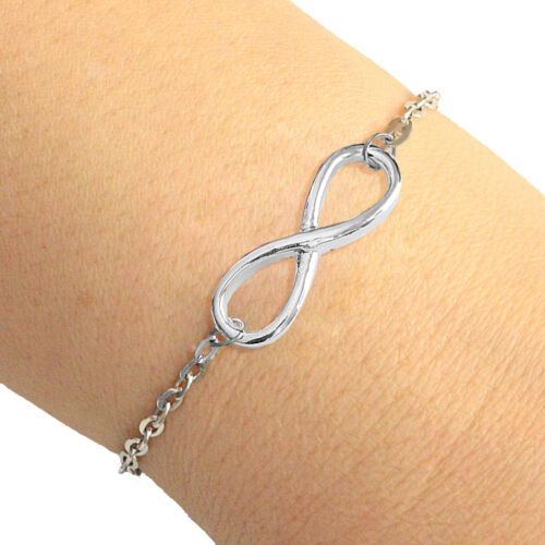 Silver Plate Infinity Charm Oval Chain Bracelet Lucky Friendship Bracelet