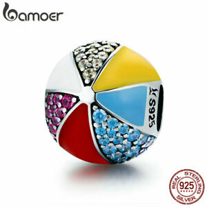 BAMOER-Authentic-925-Sterling-Silver-Charm-Colored-ball-With-CZ-DIY-for-Bracelet