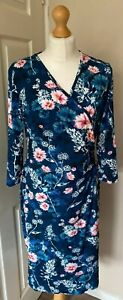 Joe-Browns-14-Floral-Teal-Easycare-Dress-Long-Sleeves