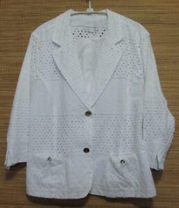 Draper-039-s-amp-Damon-039-s-White-Cotton-Eyelet-Button-Front-Lined-Jacket-Size-XL