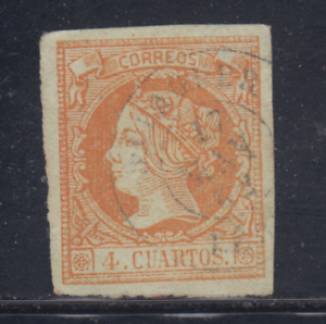 ESPANA-1860-61-USADO-SPAIN-EDIFIL-52-4-cu-ISABEL-II-LOTE-4