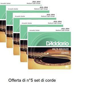OFFERTA-5-SET-MUTA-CORDE-D-039-ADDARIO-EZ920-Bronze-012-054-CHITARRA-ACUSTICA-FOLK
